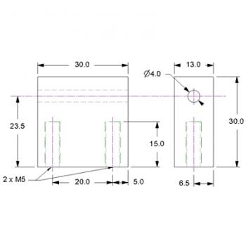 Shaft Mounting Block - 4mm Bore Bore