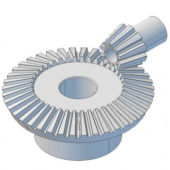 Pair Bevel Gears, 1 Mod, 10 Tooth + 40 Tooth