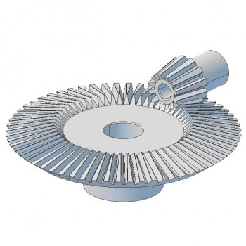 Pair Bevel Gears, 1 Mod, 12 Tooth + 60 Tooth