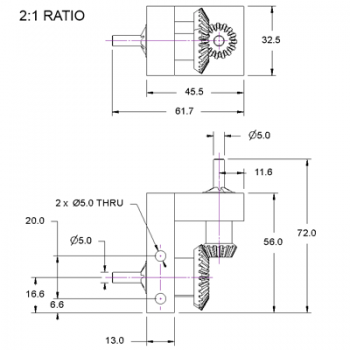 Bevel Gearbox, 2:1 ratio, plastic gears