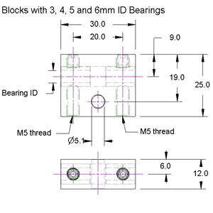 Plain Bearing Block Drawing 3mm, 4mm, 5mm + 6mm