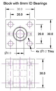 Plain Bearing Block Drawing 8mm