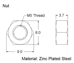 M5 Nut Dimensions