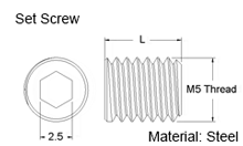 M5 Set Screw Dimensions