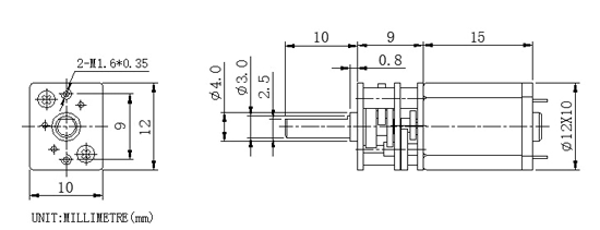 Micro Gear Motor 12 dimensions front
