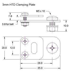 3mm HTD Clamping Plate Dimensions