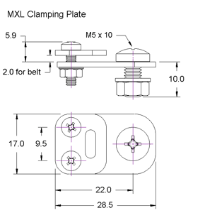 MXL Clamping Plate Dimensions